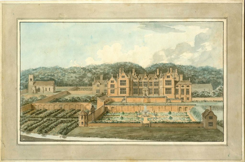 a painting of a Jacobean style hall woith formal gardens laid out to its front