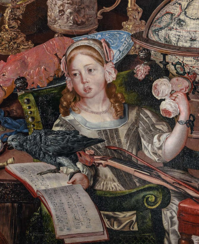 a detail fo a painting showing a little girl surrounded by flowers, a lyre and other objects of antiquity