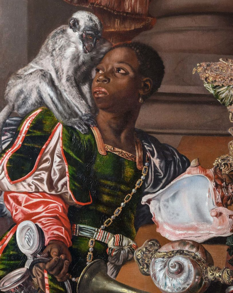 Painting detail showing a man and a grey vervet monkey