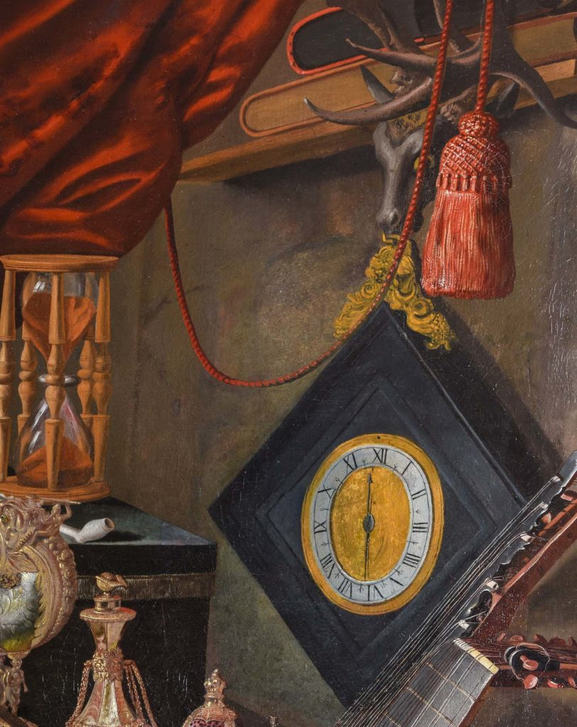 A detail of a painting showing a square-shaped clock with a yellow face on a pendulum