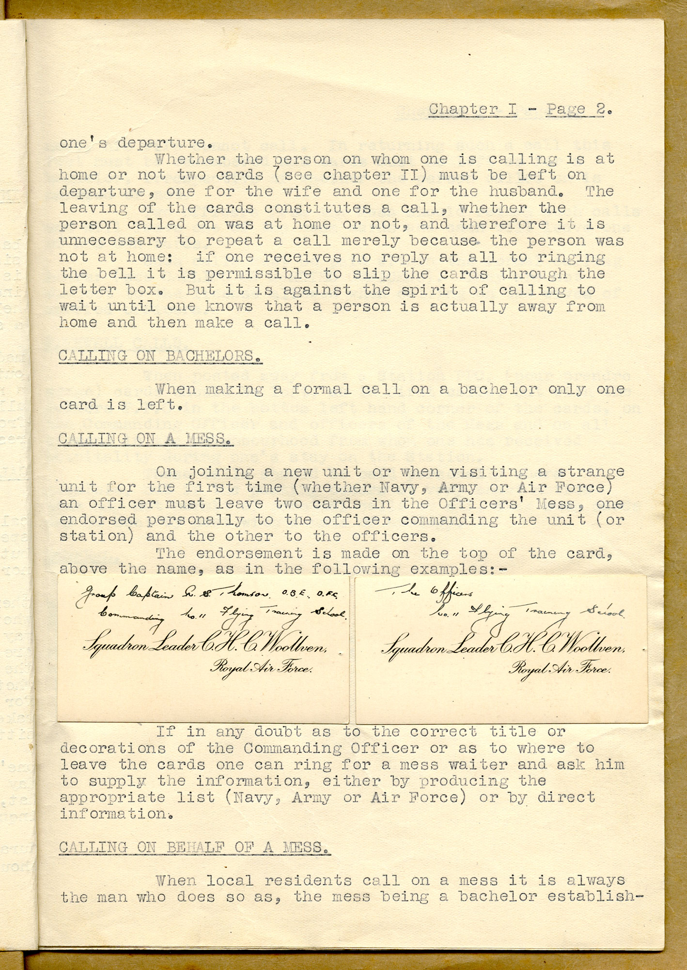 photograph of typed page of rules