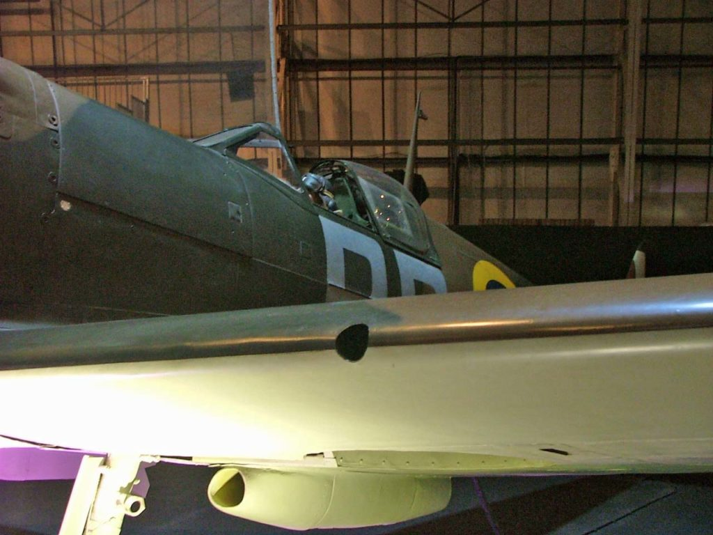 a photo of a Spitfire seen from the wing