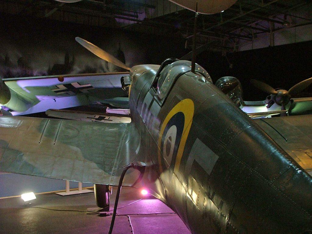 a photo of a the roundel on the fuselage of a Spitfire seen from the tail