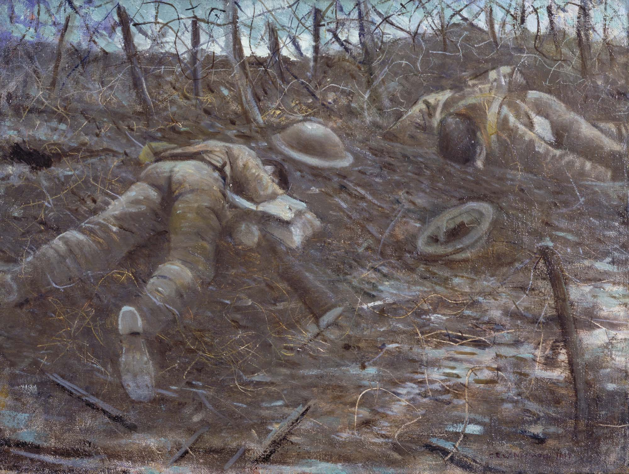 a painting depicting two dead soldiers lying face down in the mud surrounded by barbed wire
