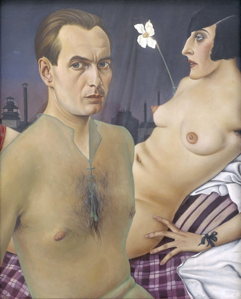 a painting of a partially naked couple