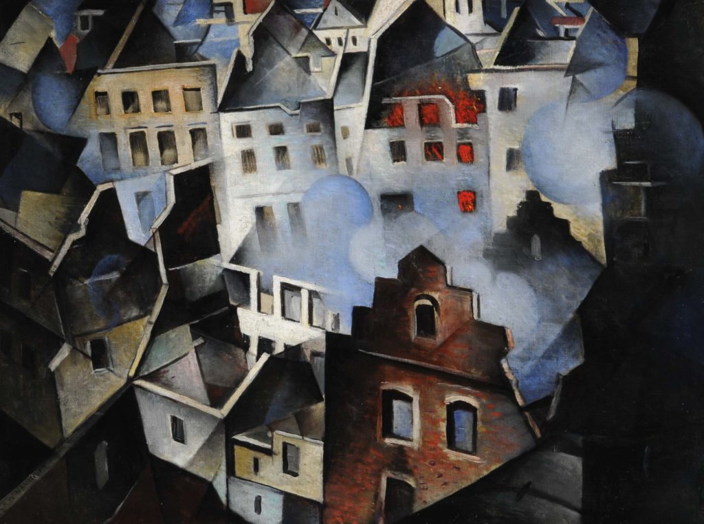 a painting of building seen from above with bomb damage
