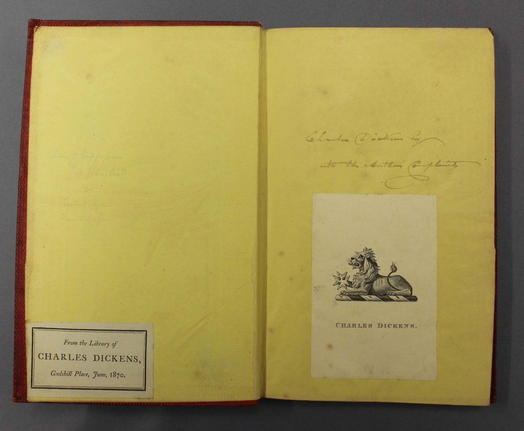 a photo of the inside of a book with bookplate and inscription