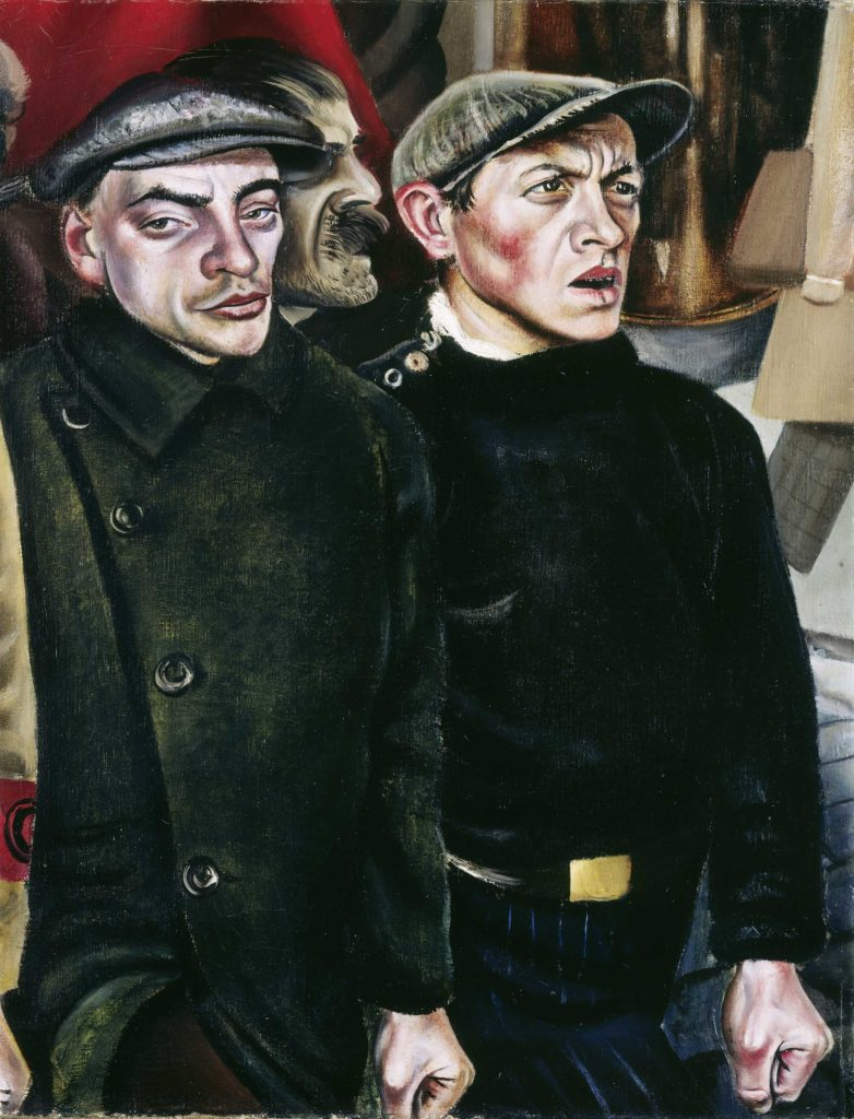 a painting of two grim faced men in black clothes and flat caps