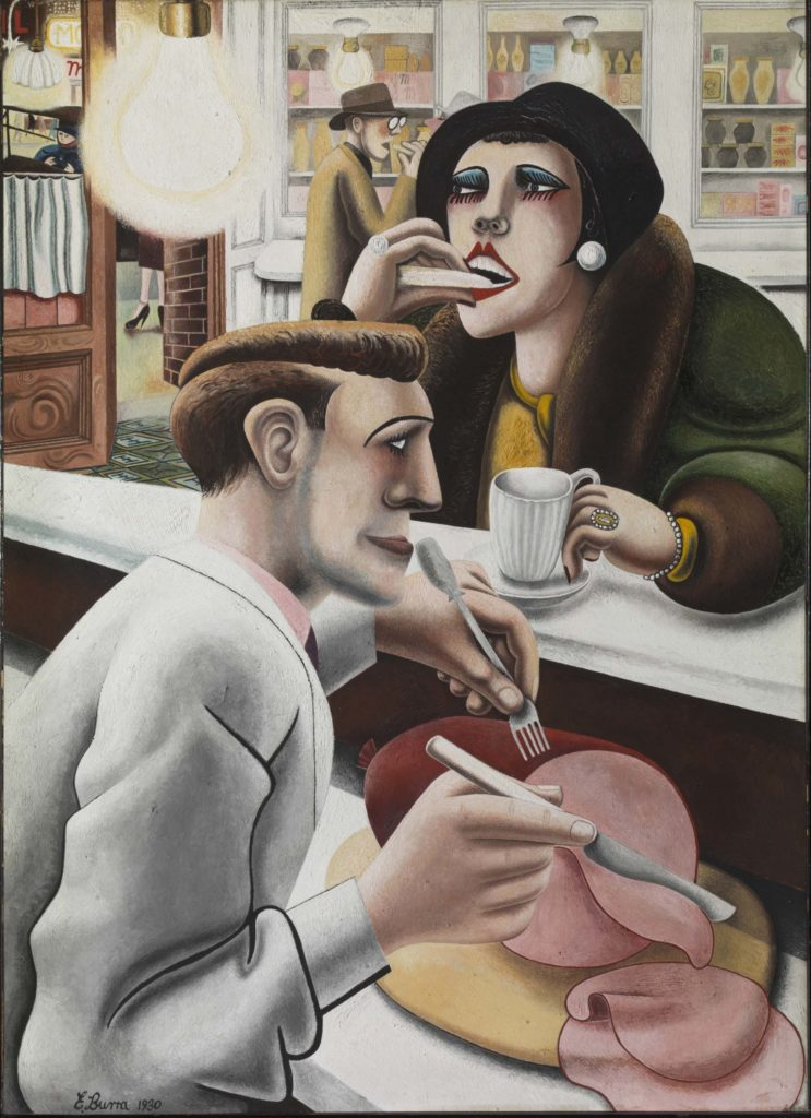 a painting of woman eating a sandwich at the counter of the snack bar as a man slices ham