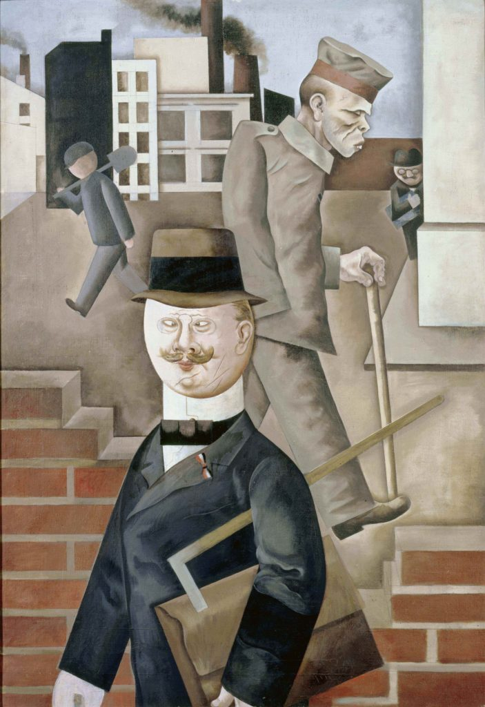a painting of a business man in suit and coat walking in front of a soldier with injuries and a walking stick