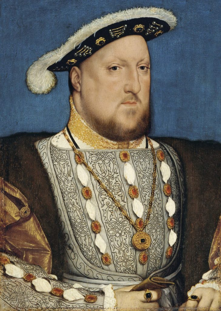 a painted portrait of Henry VIII wearing his waistcoat and fur-trimmed cap