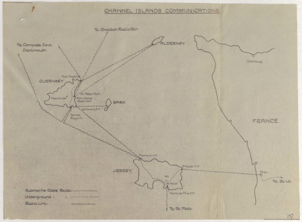 a scan of hand drawn map showing the islands of Guernsey and Jersey and the lines of communication between the two