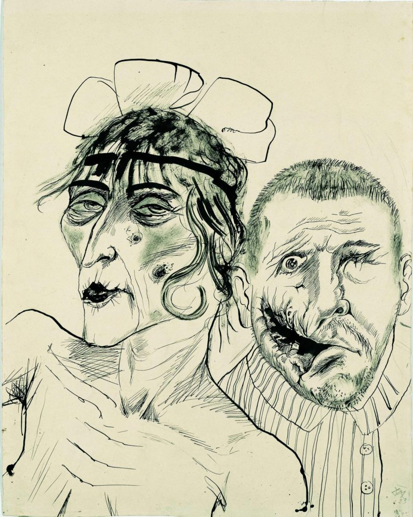 a drawing of two abstract figures one with a bad facial injury the other with heavy make up and bangs