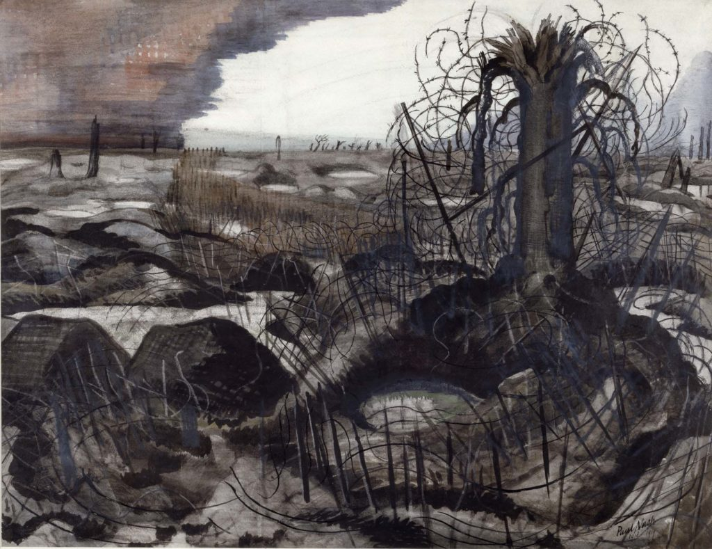 a painting of a desolate landscape with shattered trees and wire