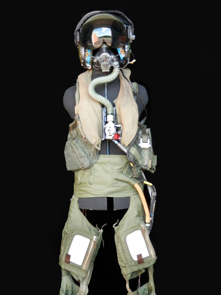 photograph of RAF flight clothing with helmet and breathing apparatus
