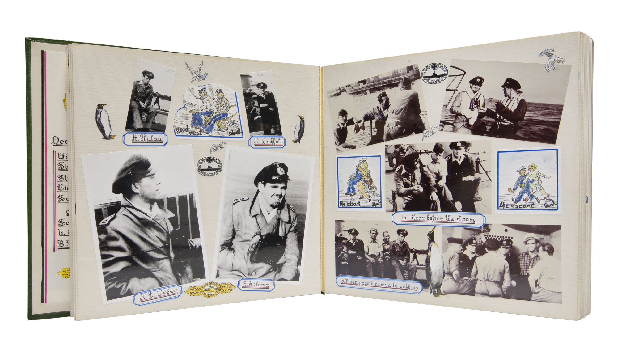 photograph of photograph album containing black and white snapshots of men in military uniform with cartoons and text