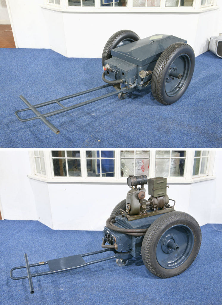 diptych photograph of blue trolley with tow bar and two large wheels - the top image shows it closed and the bottom image shows it open revealing a small engine