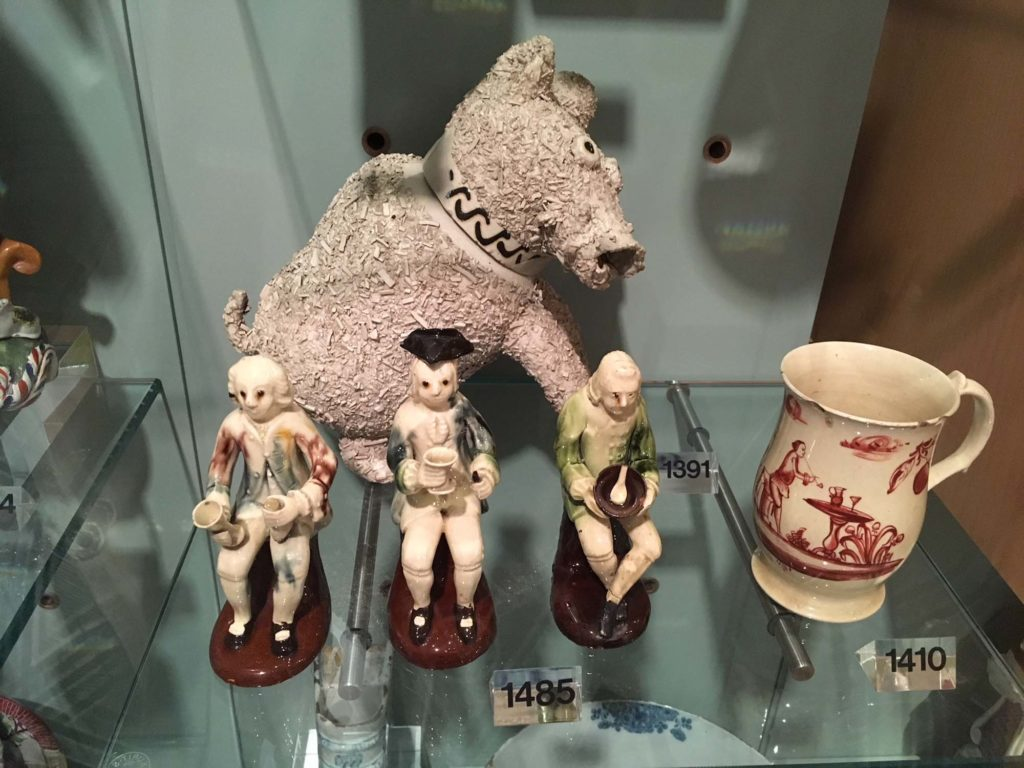 Willett Jug cover modelled as a bear surface covered with shredded clay detachable head forms a cup