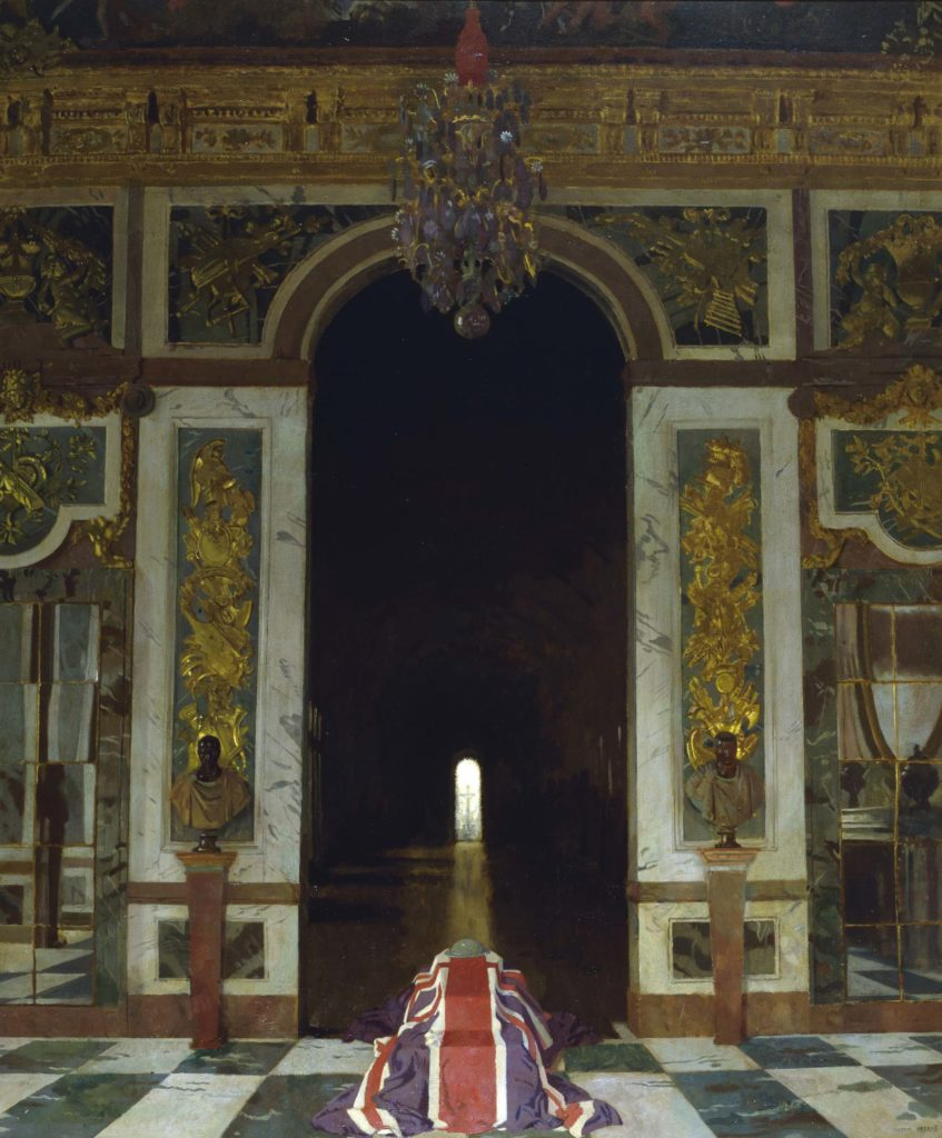 a painting of a mausoleum with a flag draped coffin in the foreground