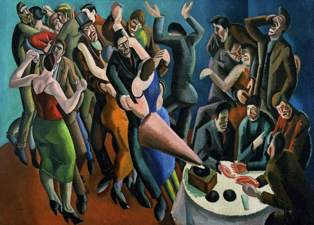 a painting of people in a club dancing