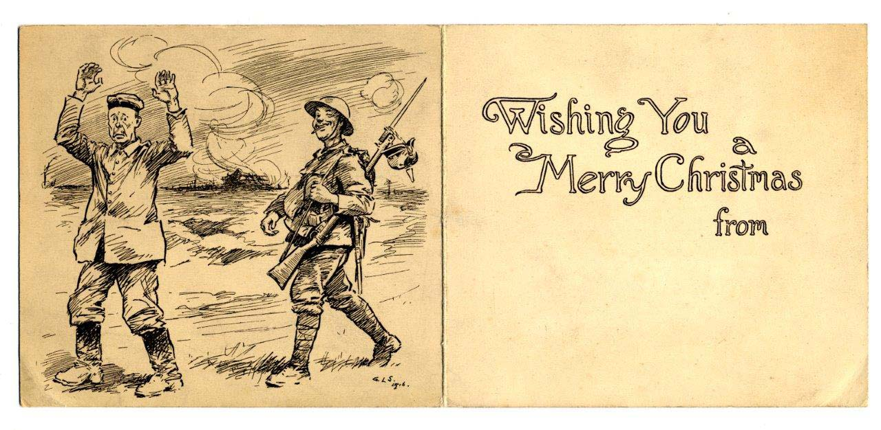 postcard with a First World War Tommy marching a German prisoner