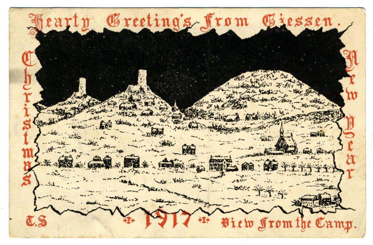 a Christmas card with three hiills from a battle field resembling Bethlehem