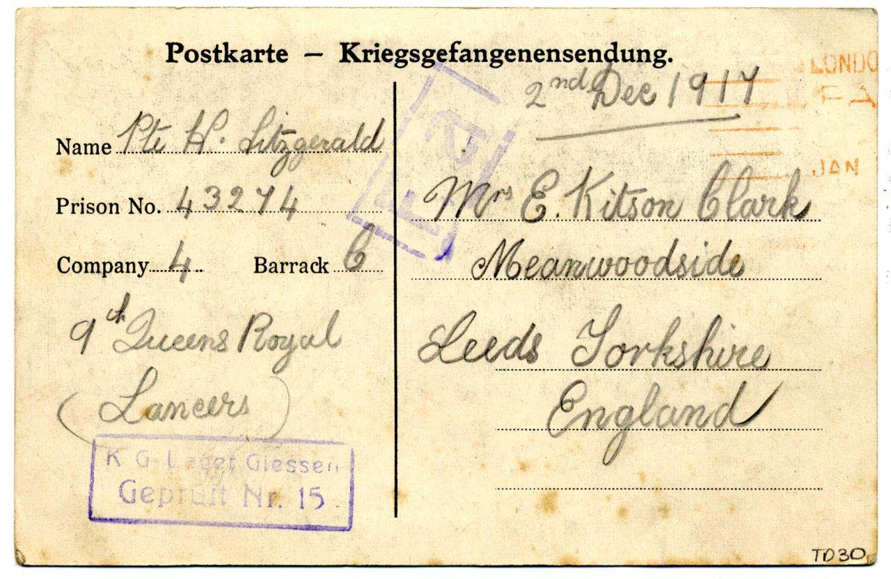 back of a postcard with basic information from the soldier