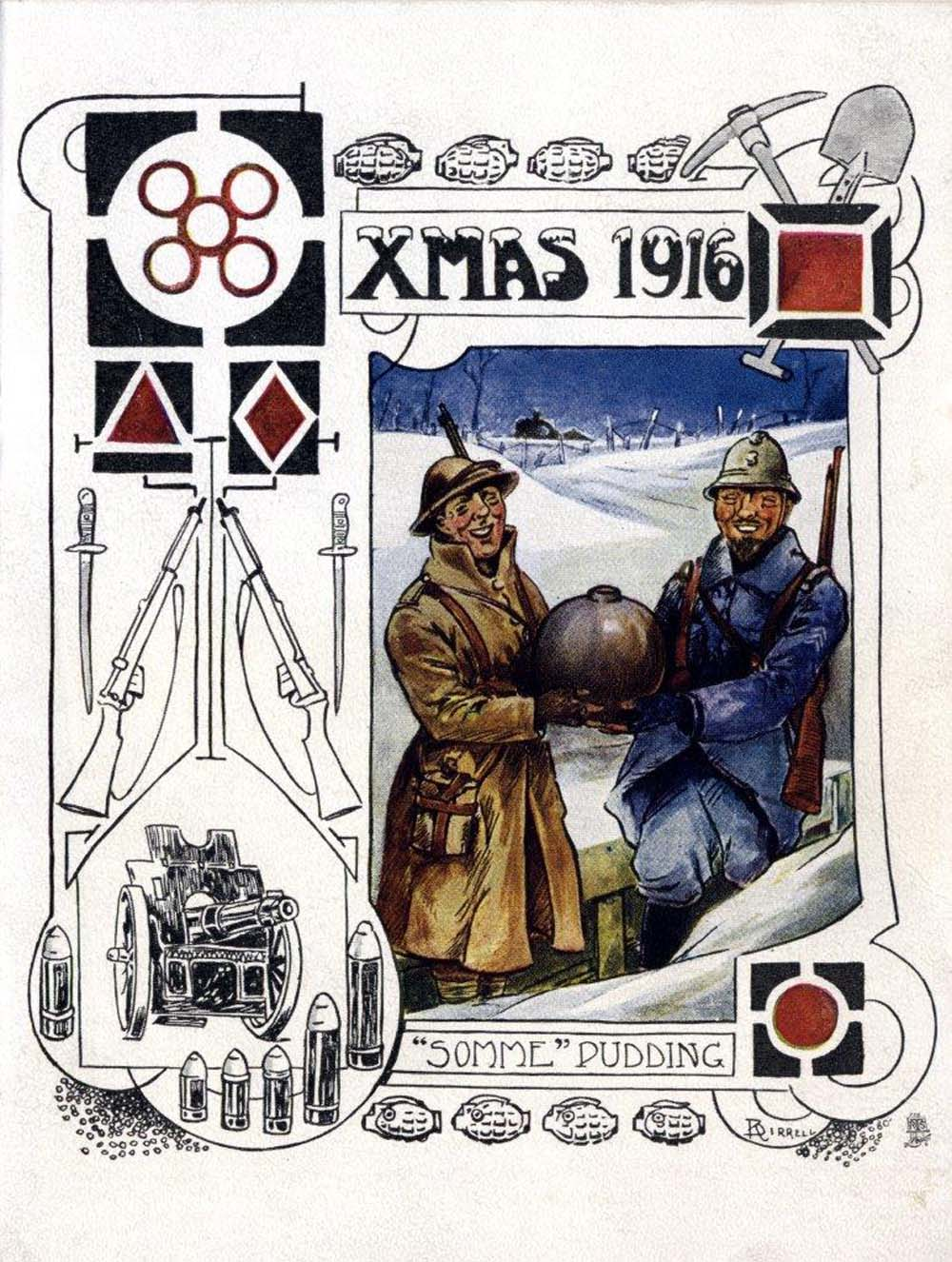 a photo of a Christmas card with a French and British soldier with an Christmas pudding shaped bomb