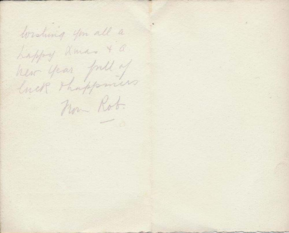 The back of a postcard with merry Christmas, love from Pat written on it