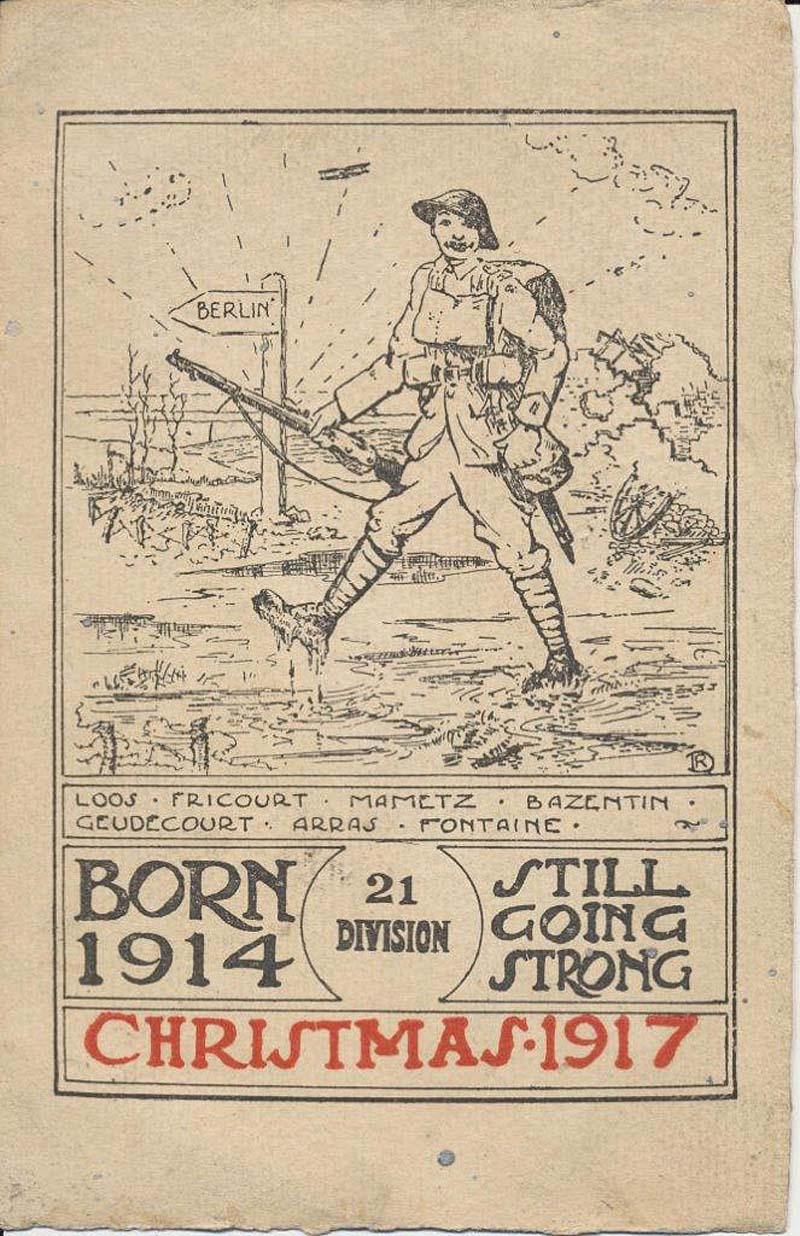a photo of a Christmas card with a soldier marching to Berlin