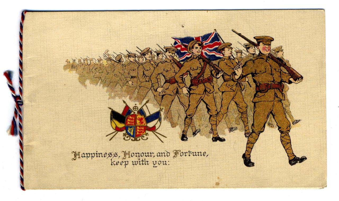 A Christmas card with soldiers marching on the front