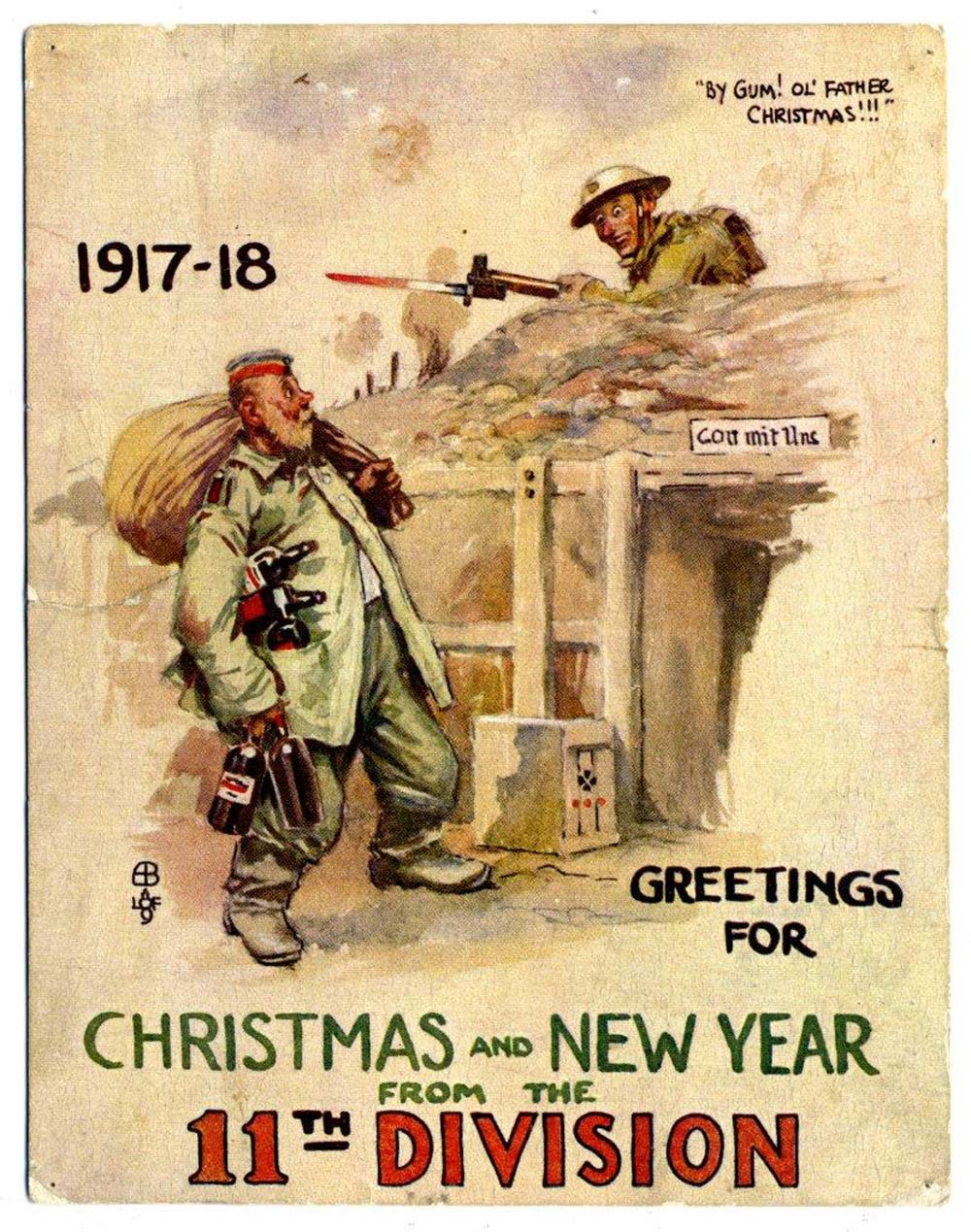 A comical Christmas card featuring a Tommy peering over a trench at a large German soldier with a sack