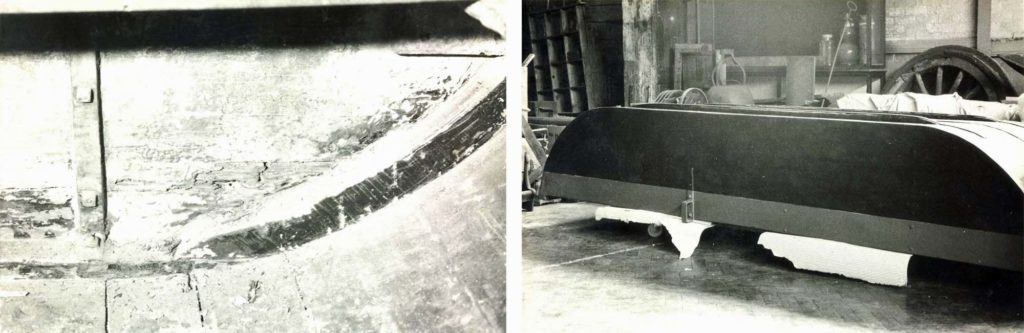 tow black and white photos showing a boat in conservation