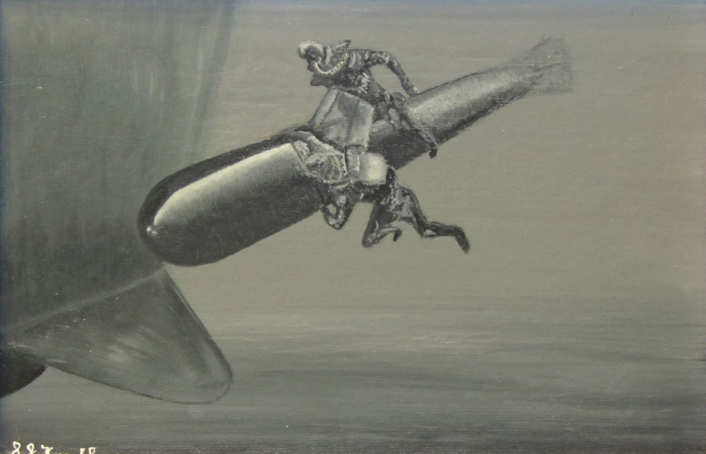 a painting of two divers fighting beneath the hull of a ship on an underwater human torpedo
