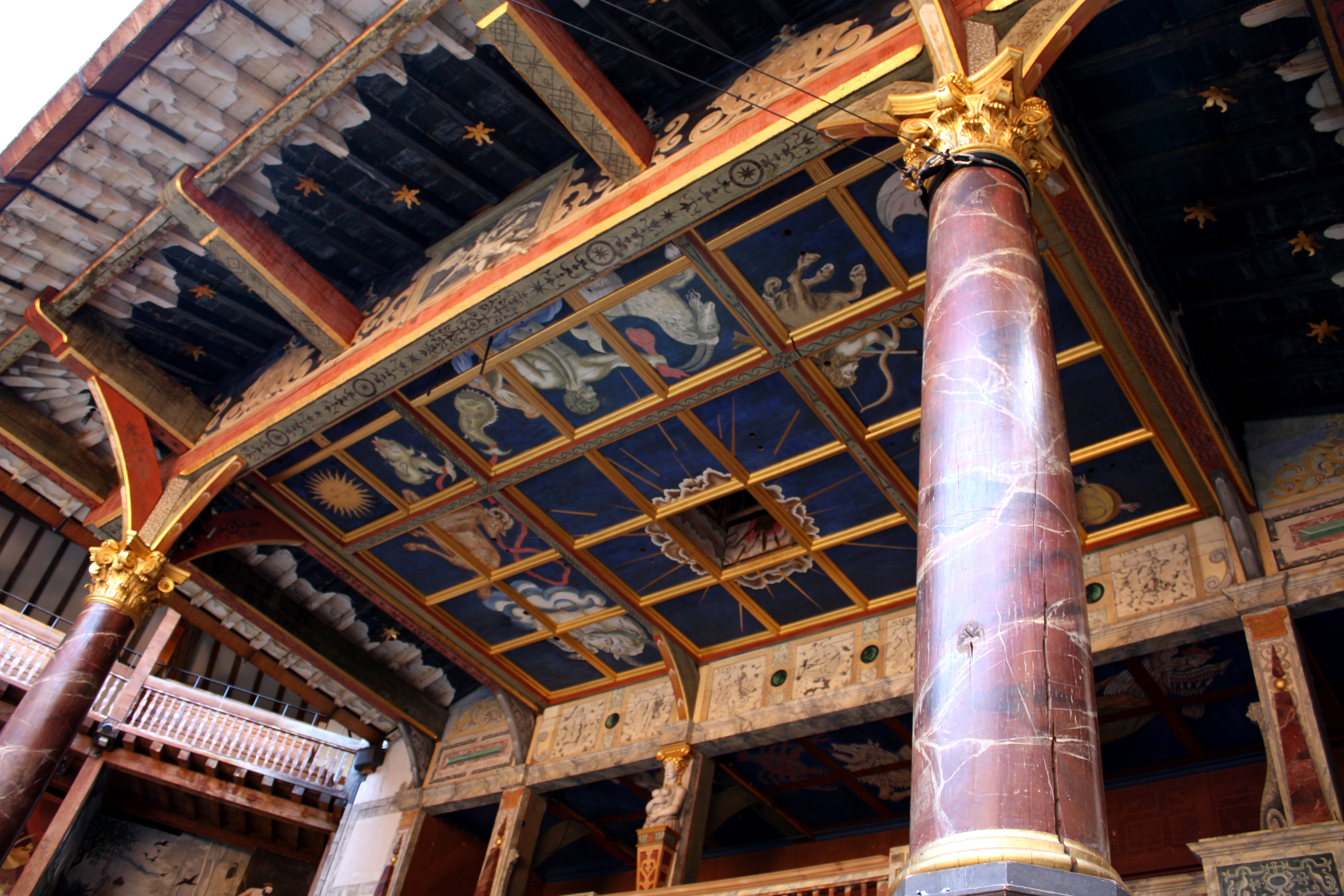 photograph of the ceiling above the stage at the Globe Theatre