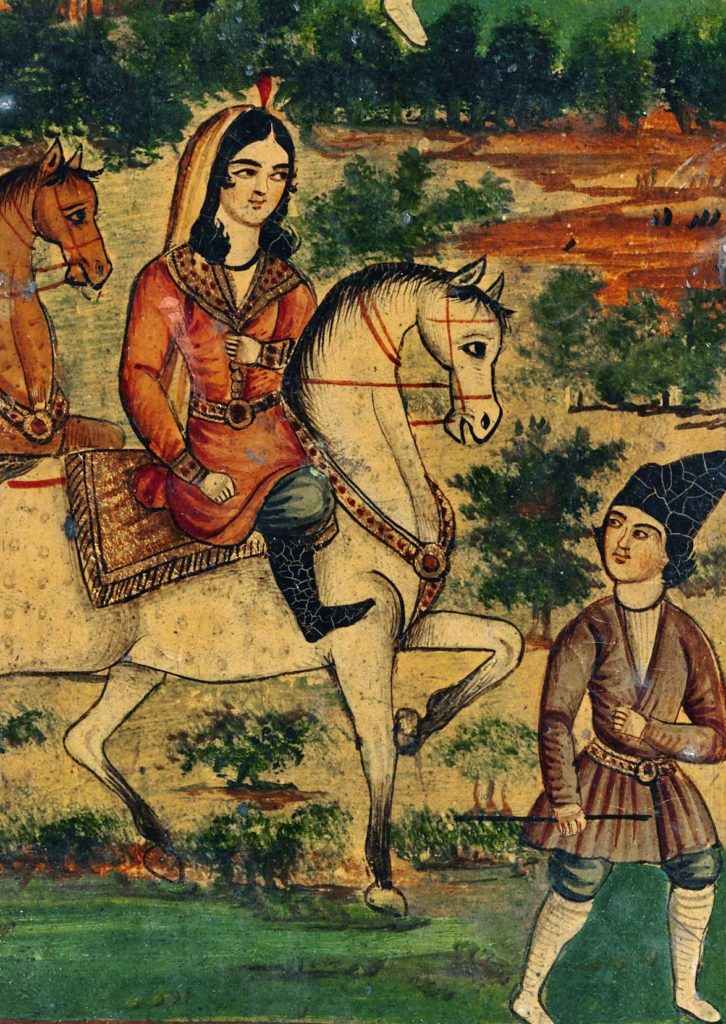 a painting of a scene with a man on horseback attended by servants