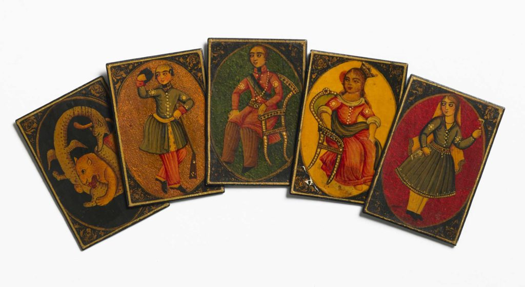 a photo of a set of playing cards with depictions of people on their rear