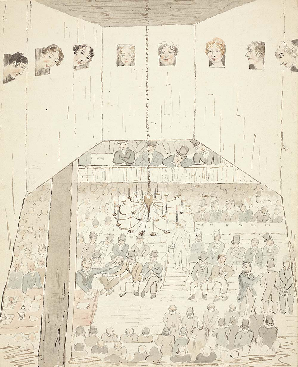 a sketch showing women peering through small windows on parliament below