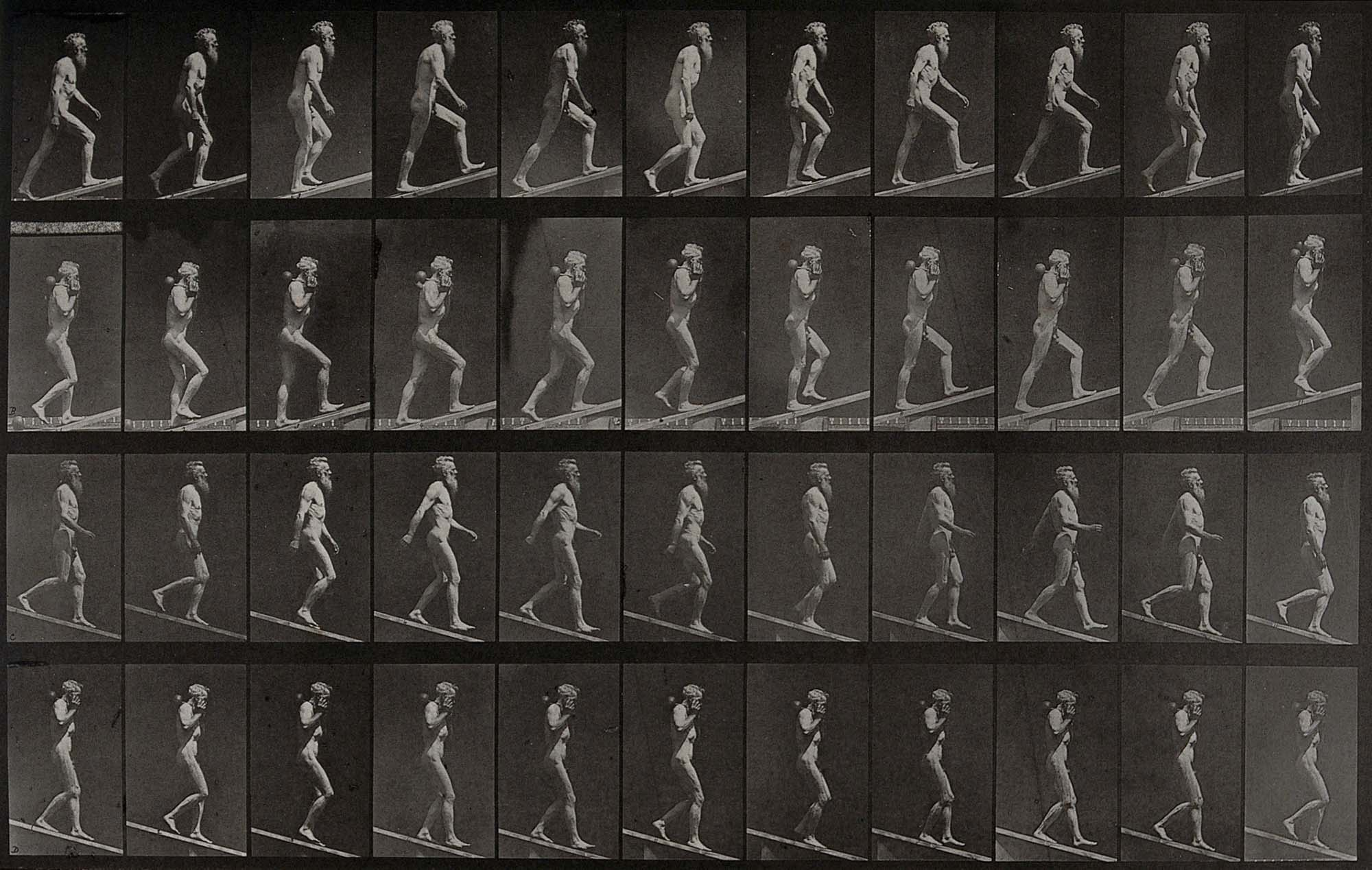 multiple balck and white photos of a naked man walking up and own a small plank