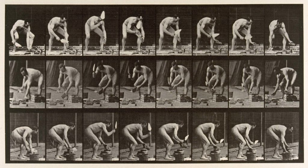 multiple photos of a naked man laying bricks
