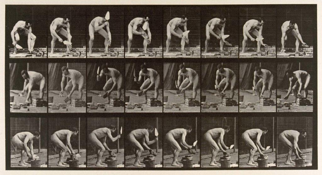 multiple photos of a naked man laying bricks