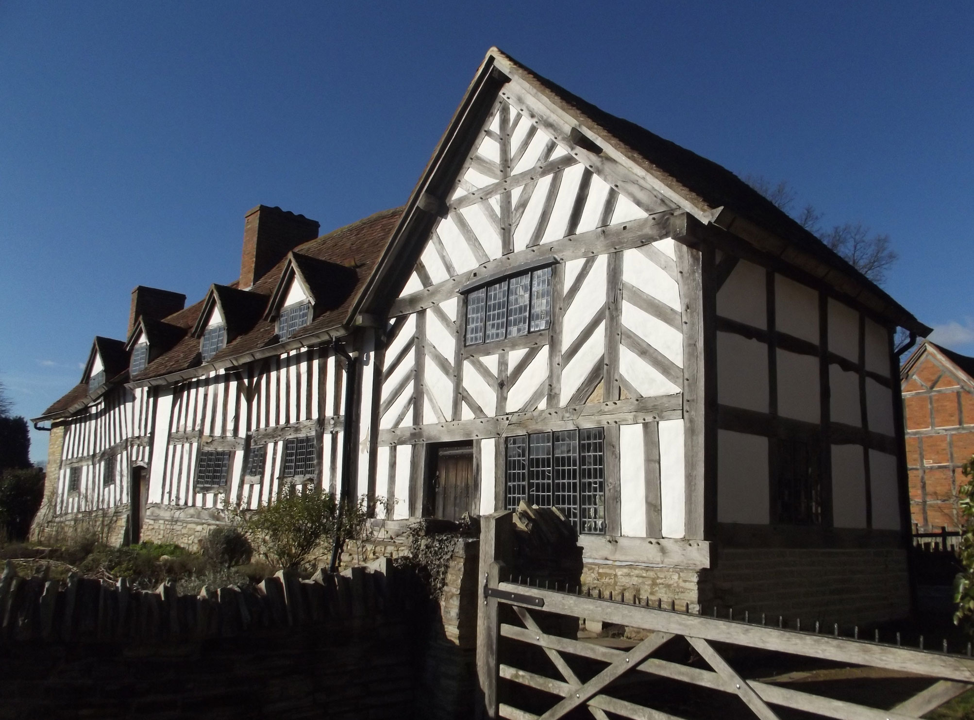 photograph of exterior of tudor building