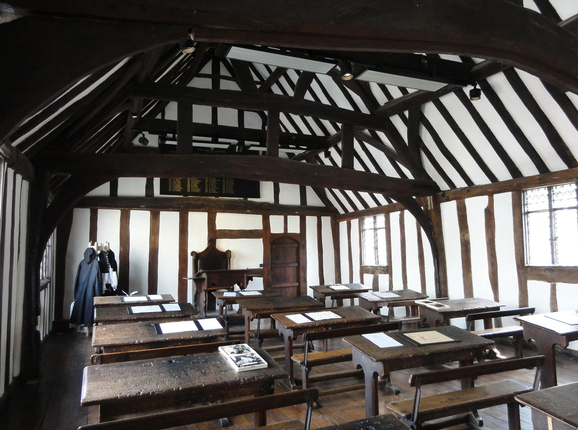photograph of interior of tudor schoolroom