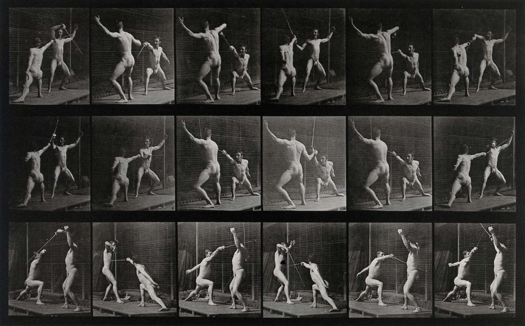 multiple black and white photos of two men fencing