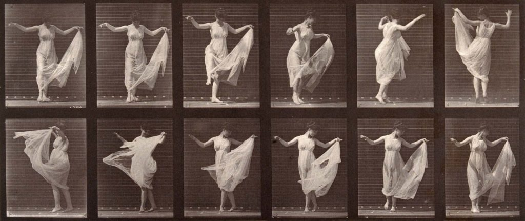 multiple photos of a woman in a slip or under dress dancing
