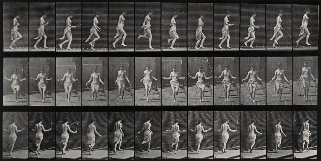 a photo shhet of multiple shots of a naked woman skipping