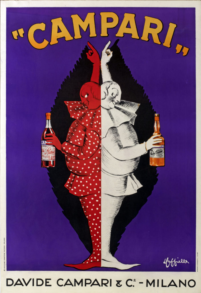 Illustrated advert for Campari showing pair of pierrots mirroring each other holding bottles of red and orange liquid