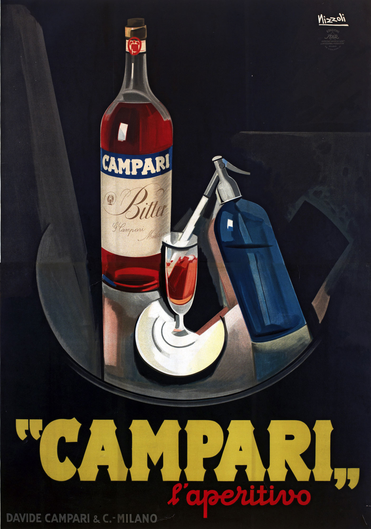 Illustrated advert for Campari showing bottle of red liquid on a table, with a tall glass full of the liquid and a soda siphon