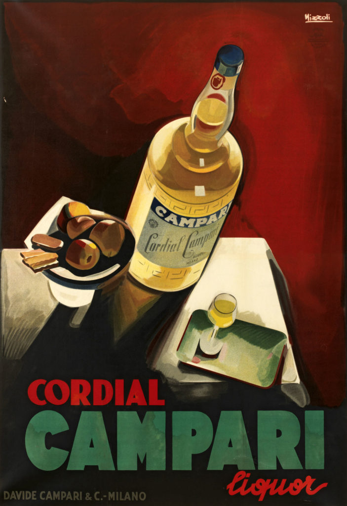 Illustrated advert for Campari showing bottle of yellow liquid on a table with a small glass of the liquid and a dish of food