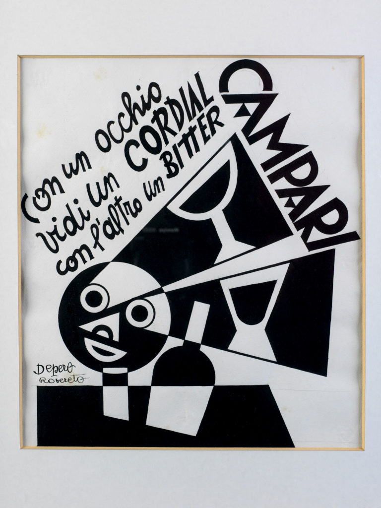 Illustrated advert for Campari showing black and white abstract image of face, bottle and cocktail glasses